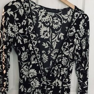 Donna Morgan Black & White Half Wrap Dress